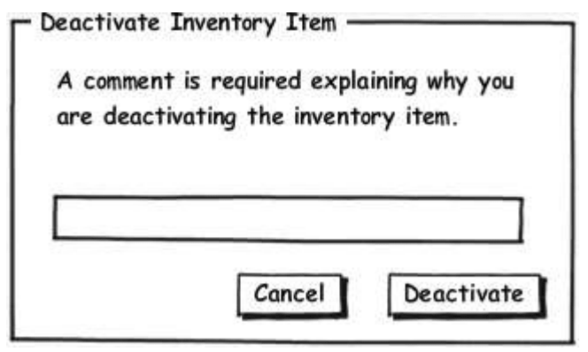 Task-based UI for deactivating an inventory item